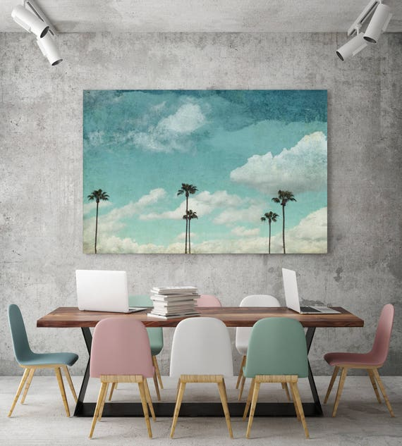 ORL-5896 Touching The Sky, Blue Tropical Canvas Art Print, Large Palms Canvas Art Print up to 72 by Irena Orlov