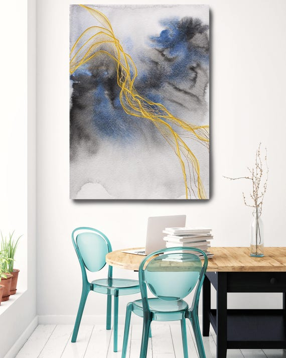 """Blue Expression 1. Watercolor Abstract Blue Black Gold Canvas Art Print up to 72"""" by Irena Orlov"""