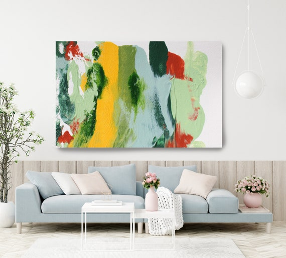 A calm day 7, Green Blue Abstract Painting Modern Art Abstract Painting Extra Large Painting Extra Large Abstract Canvas Print