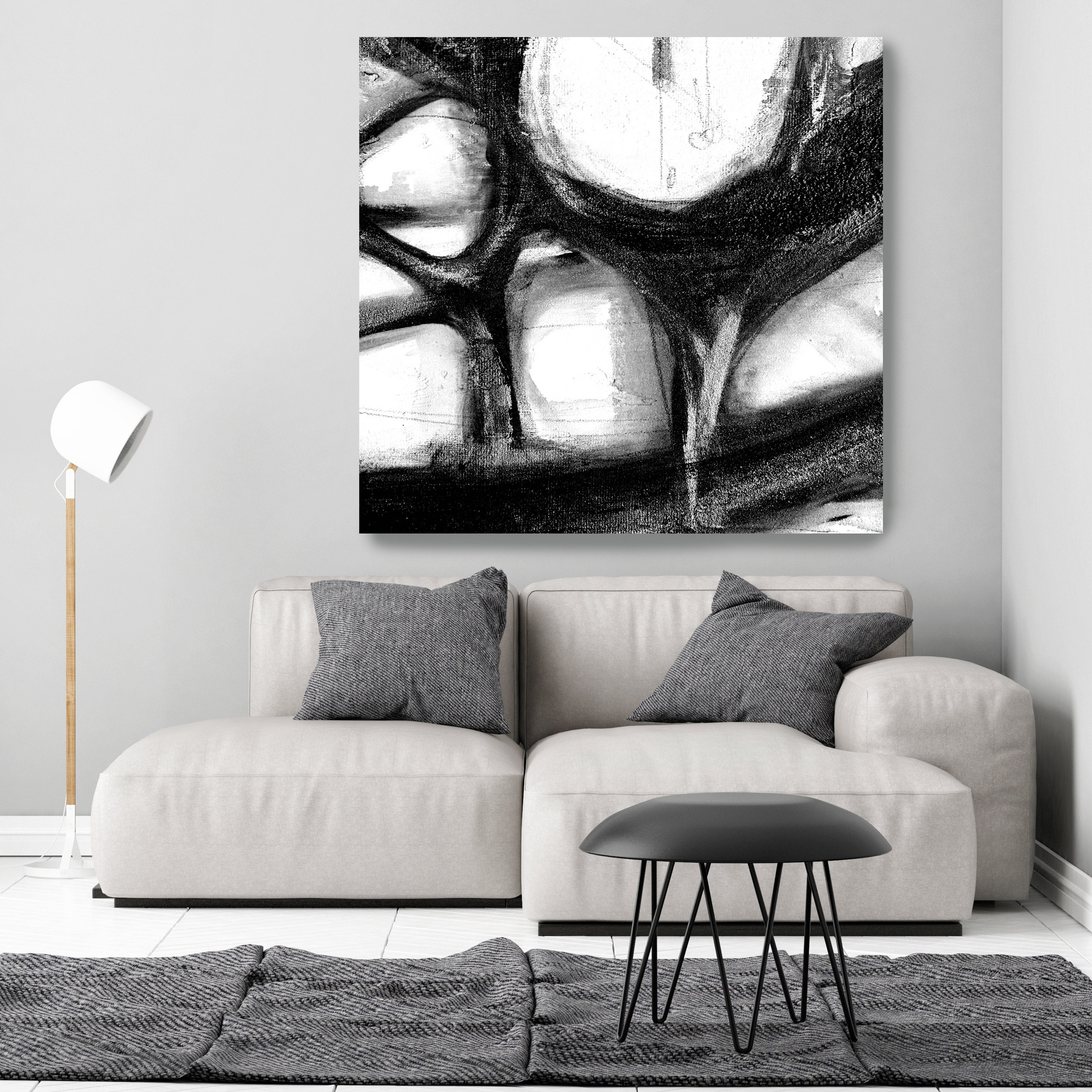 Black and white abstract monochrome oversized abstract painting on canvas art black white painting large wall art decor canvas print