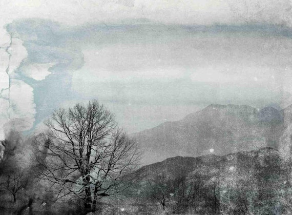 "Misty Dawn. Huge Rustic Landscape Painting Canvas Art Print, Extra Large Blue Gray Canvas Art Print up to 80"" by Irena Orlov"