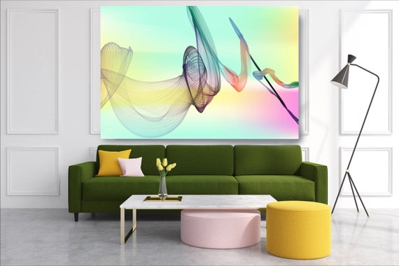 Pink Aqua Abstract Flow Modern Abstract Wall Art Decor Abstract Canvas Print Modern Trendy Wall art Luxury Abstract Painting, Minimalist