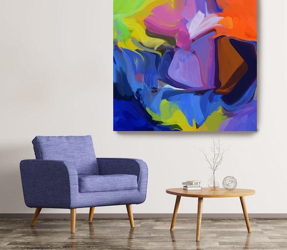 Desert Mirage 3, Abstract Purple Blue Original Painting, Contemporary art, Abstract Painting Print Canvas Print Fluid Painting Fluid Art