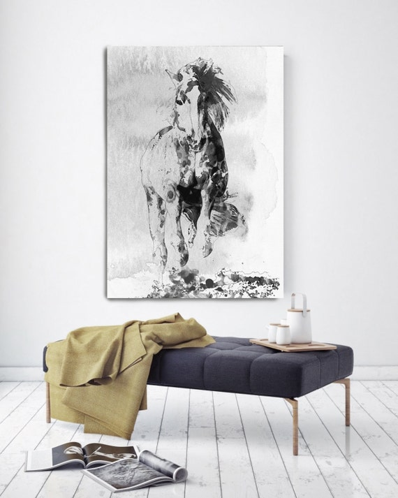 Wild Running Horse 3. Extra Large Contemporary Horse Black and White Canvas Original Oil/Acrylic Art. Horse BW Original Art by Irena Orlov