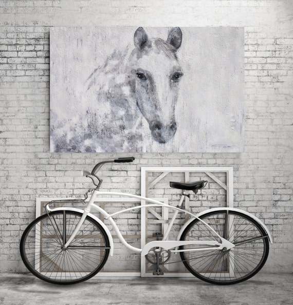 """Gorgeous Dapple Horse 2. Large Horse, Horse Wall Decor Gray White Rustic Horse, Large Contemporary Canvas Art Print up to 72"""" by Irena Orlov"""