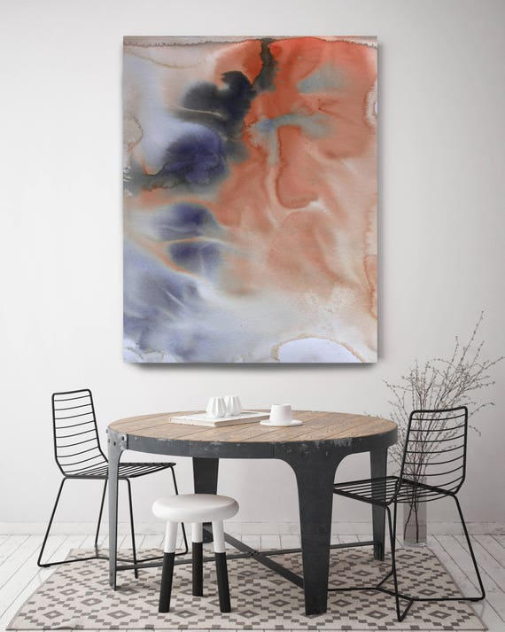 Watercolor Symphony 46. Watercolor Abstract Brown Blue Orange Canvas Art Print Blue Orange Watercolor Painting