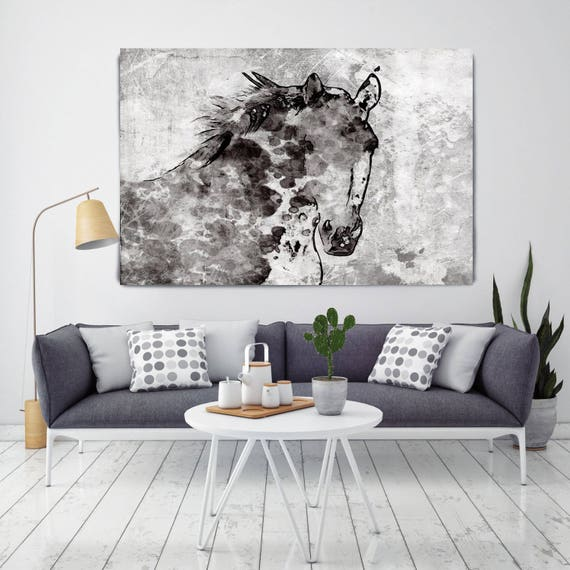 "Winter Horse. Extra Large Horse, Horse Wall Decor, Black White Rustic Horse, Large Contemporary Canvas Art Print up to 72"" by Irena Orlov"