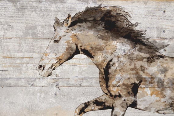 Natural Rustic Horse Art, Gorgeous Running Horse. Horse Art Large Canvas, Horse Art, Vintage Horse, Horse Painting, Equestrian Farmhouse Art