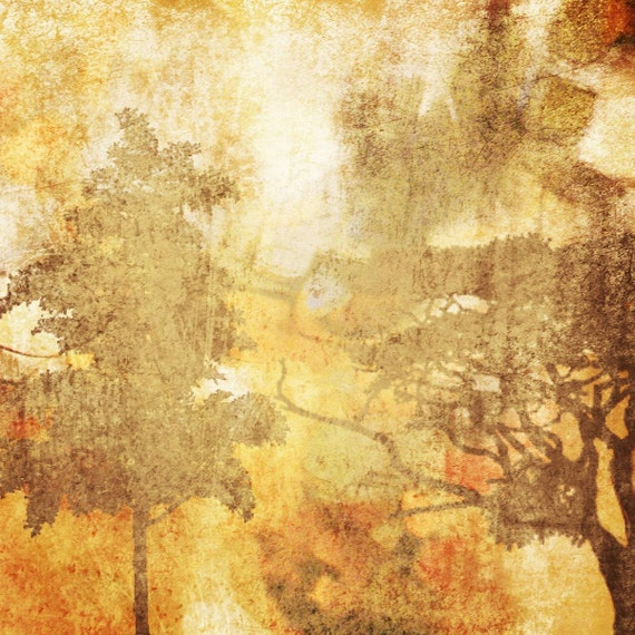 """Autumn Mist. Huge Rustic Landscape Painting Canvas Art Print, Extra Large Yellow Orange Brown Canvas Art Print up to 50"""" by Irena Orlov"""