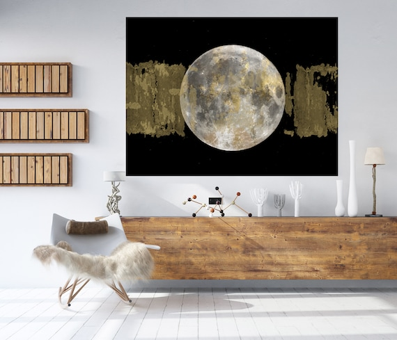 Gold Moon 3, Moon Modern Art, Gold Gray Black Moon Canvas Print, Black And White, Planet Wall Art, Space Art, Moon Phases Art