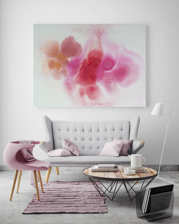"Watercolor Coastal Abstract 9. Watercolor Abstract Pink Purple, Watercolor Canvas Art Print up to 72"" by Irena Orlov"