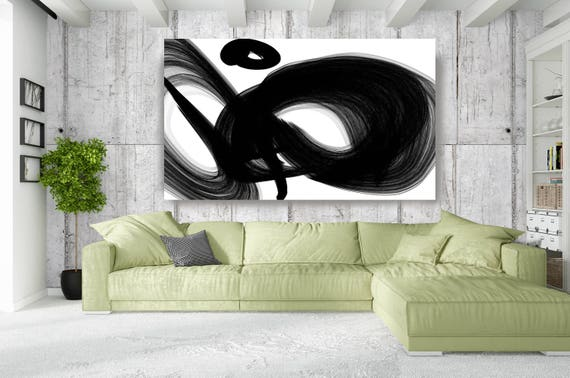 "A Channel. Contemporary Abstract Black and White, Unique Abstract Wall Decor, Large Contemporary Canvas Art Print up to 72"" by Irena Orlov"