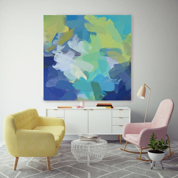 "5366-2 Pure Happiness II.Blue Green  Abstract Paintings Art, Large Abstract Colorful Contemporary Canvas Art Print up to 48"" by Irena Orlov"