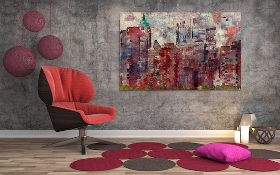 """ORL-7336-2 Colorful New York II. New York Extra Large Canvas Art Print up to 72"""", New York Wall Decor Canvas Brown Rustic by Irena Orlov"""