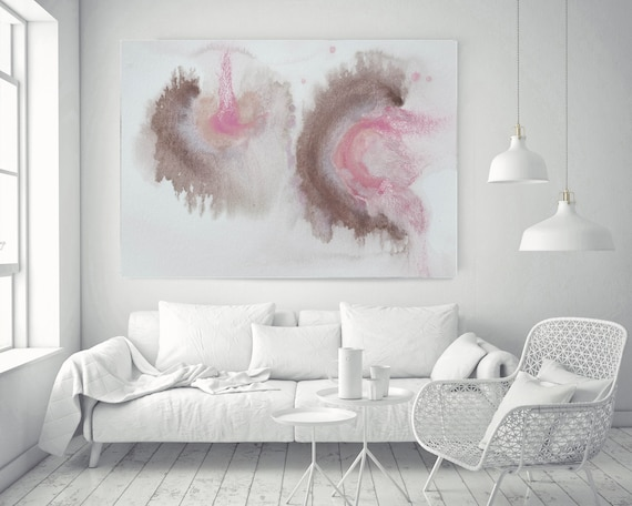 """Pink Blue Brown Grey Watercolor abstract splash 8.. Pink Brown Abstract Paintings Contemporary Canvas Art Print up to 72"""" by Irena Orlov"""