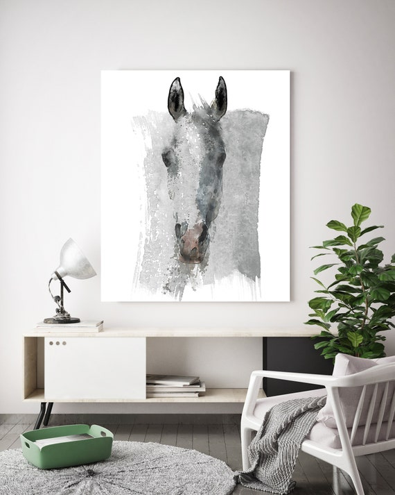 Watercolor Horse Portrait | Horse Painting | Giclee | Farm Animal | Horse Art| Rustic Horse | Horse Canvas | Abstract Horse