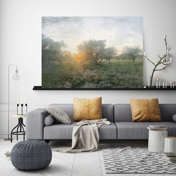 Sunrise, watercolor green landscape painting Watercolor Landscape Art Canvas Print Nature Painting