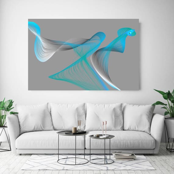 "Air Breeze 12. Abstract New Media Art, Wall Decor, Extra Large Abstract Gray Blue Contemporary Canvas Art Print up to 72"" Irena Orlov"