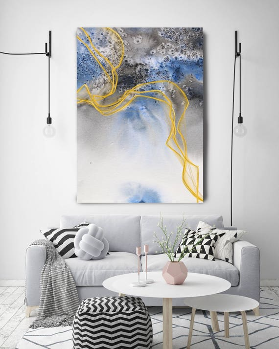 """Coastal Watercolor Abstract 136. Watercolor Abstract Blue Black Gold Canvas Art Print, Watercolor Painting Print up to 72"""" by Irena Orlov"""
