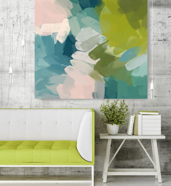 "Calm Colors I. Green Pink Abstract Art, Wall Decor, Large Abstract Colorful Contemporary Canvas Art Print up to 48"" by Irena Orlov"