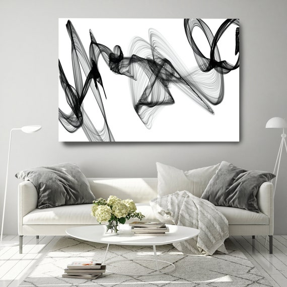 Black and White Wall Art, Social influences, Home Decor Wall Art Black White Abstract Canvas Print Brush Stroke Minimalist Office Art