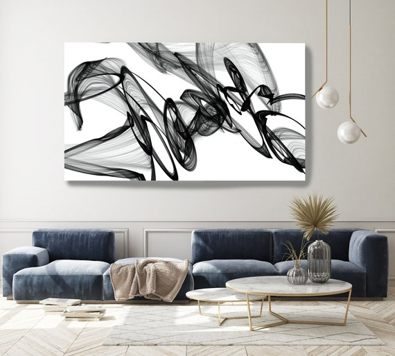 Black and White Wall Art, Home Decor Wall Art Black and White Canvas Print Abstract Print Large Wall Art, Office Decor, Movement Line Art