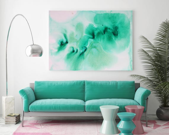 "Watercolor Coastal Abstract 34. Watercolor Abstract White Green Canvas Art Print, Watercolor Painting Print up to 72"" by Irena Orlov"