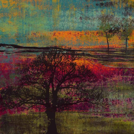 """Impression, Sunset. Huge Rustic Landscape Painting Canvas Art Print, Extra Large Green Pink Orange Canvas Art Print up to 50"""" by Irena Orlov"""