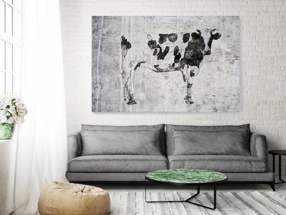 Cow Painting, Cow Art, Cow Canvas PRINT, Cow Textured Painting, Farm Animal Art, Farmhouse Art, Prints of Farm Animals, Farm Wall Art