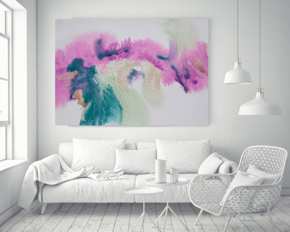 "Turquoise Pink Watercolor abstract splash 1.. Watercolor Green Pink Watercolor Painting Print Canvas Art Print up to 72"" by Irena Orlov"