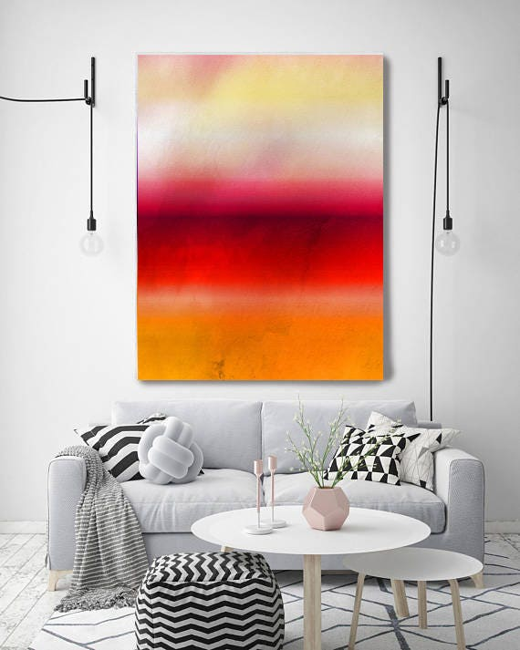 """Inspired by Rothko 65, Ombre Watercolor Abstract,  Extra Large Abstract Red Yellow Contemporary Canvas Art Print up to 72"""" by Irena Orlov"""