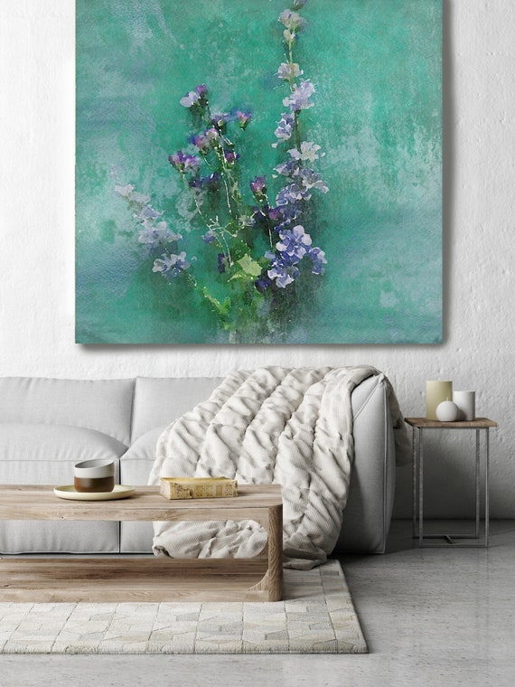 "May. Rustic Floral Painting, Green Turquoise Lavender Rustic Large Floral Canvas Art Print up to 48"" by Irena Orlov"