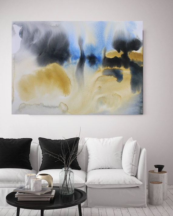 """Watercolor Symphony 98. Watercolor Abstract Yellow Black Blue Canvas Art Print up to 72"""" by Irena Orlov"""
