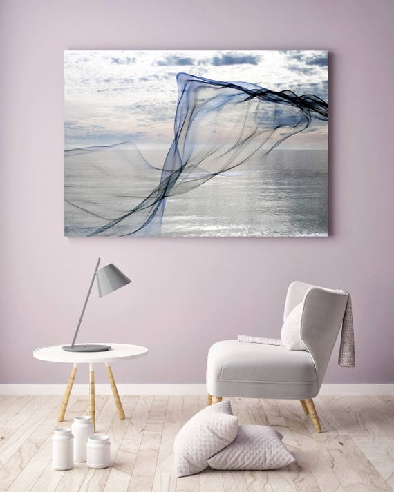 "ORL-11592 Silver ocean breeze 9. Extra Large Contemporary Blue Canvas Art Print, Seascape Abstract Canvas Art up to 80""  by Irena Orlov"