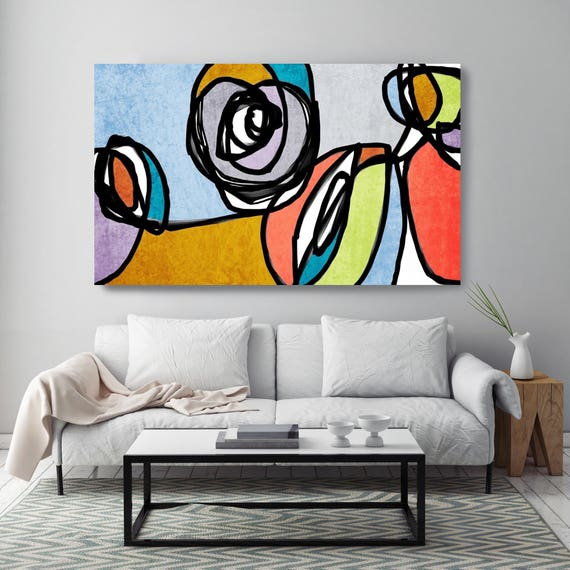 "Vibrant Colorful Abstract49-4. Mid-Century Modern Blue Yellow Canvas Art Print, Mid Century Modern Canvas Art Print up to 72"" by Irena Orlov"
