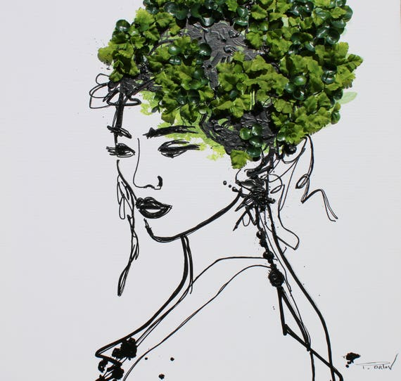 "Beauty Spring Woman - Acrylic and 3D Painting on Canvas Biophilic design 24 x 24"" Irena Orlov, Trending Green"