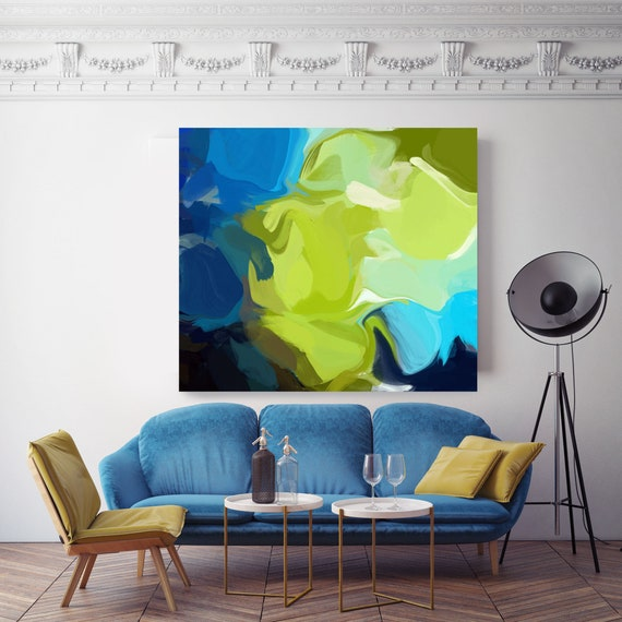 "Refreshing Breeze.Blue Green Abstract Paintings Art, Wall Decor, Extra Large Abstract Contemporary Canvas Art Print up to 48"" by Irena Orlov"