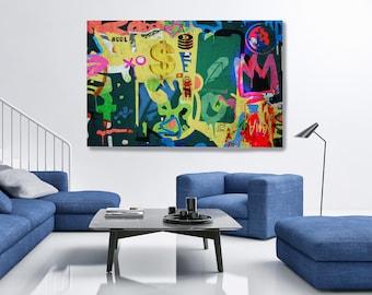 Robinhood Financial Wall Street Art Graffiti Abstract Canvas, Graffiti, Stock Market Art, Robinhood Artwork Canvas Print
