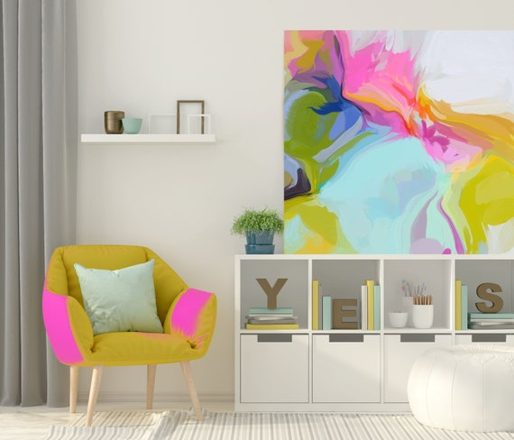 "Super Rhythm 1, Art Abstract Print on Canvas up to 50"", Blue Pink White Yellow Green Abstract Canvas Art Print by Irena Orlov"