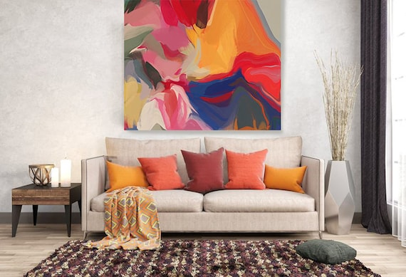 """Volcano 2. Original One-of-a-kind Oil Painting on Canvas, Contemporary Abstract Yellow, Blue, Red Oil Painting up to 50"""" by Irena Orlov"""