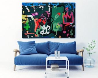 Robinhood Financial Market Moments Wall Street Art Graffiti Abstract Canvas, Stock Market Art, Robinhood Art Print