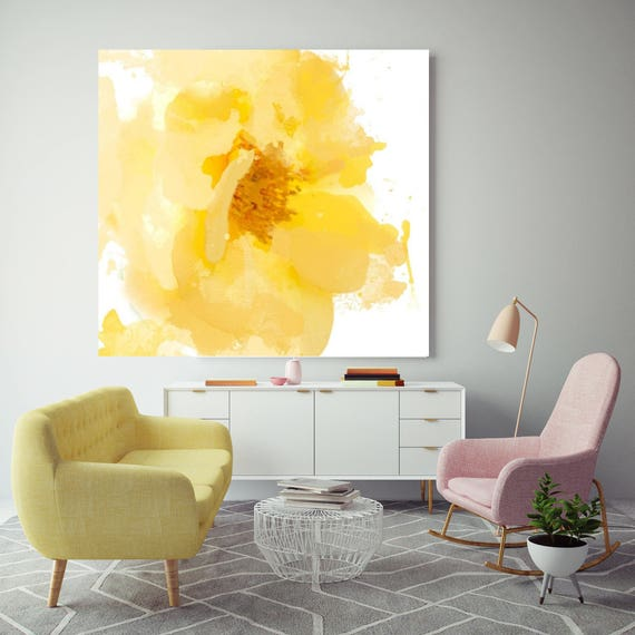 "Beautiful and bright. Floral Painting, Yellow White Floral Canvas, Abstract Colorful Contemporary Canvas Art Print up to 72"" by Irena Orlov"
