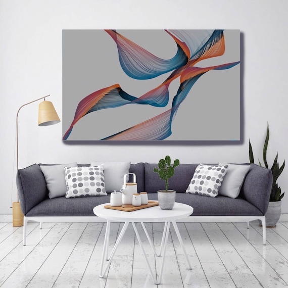 "Color Movement 3. Abstract New Media Art, Wall Decor, Extra Large Abstract Gray Blue Red Canvas Art Print up to 72"" by Irena Orlov"