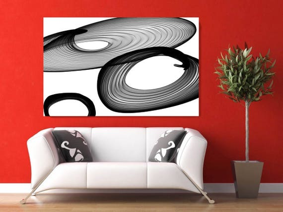 "Abstract Black and White 21-03-02. Contemporary Unique Abstract Wall Decor, Large Contemporary Canvas Art Print up to 72"" by Irena Orlov"