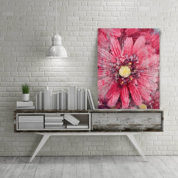"ORL-8053-3 Awakened Floral. Floral Painting, Pink Red Abstract Art, Abstract Colorful Contemporary Canvas Art Print up to 72"" by Irena Orlov"
