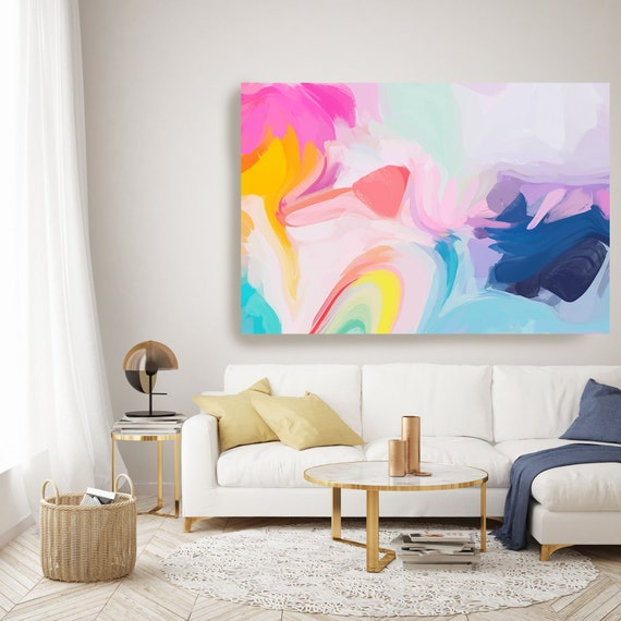 Blue Pink Yellow Large Abstract Art, Abstract Canvas Print Large Modern Abstract Wall Art, Abstract Painting, Found in light