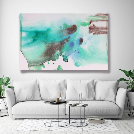 """Coastal Watercolor Abstract 65. Watercolor Abstract Blue Brown Canvas Art Print, Watercolor Painting Print up to 72"""" by Irena Orlov"""