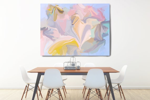 Yellow and Pink, Abstract Painting Extra Large Abstract Hand Painted Acrylic Painting Pink Blue Yellow Contemporary Canvas Print