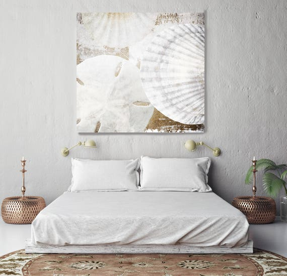 "White Shells. Shabby Chic, Cottage Chic, Beach Rustic Shells White Extra Large up to 48"" Canvas Art Print by Irena Orlov"