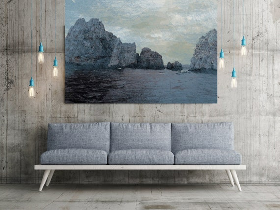 Rocks And Waves 5, Extra Large Seascape Rustic Blue Boat Canvas Wall Art Print Large Canvas Print BLUEPRINT color Ocean Art Irena Orlov